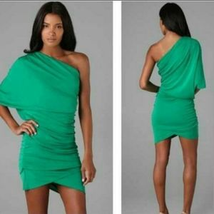Haute Hippie Asymmetric Shirred Dress